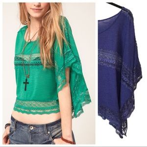 Free People Purple Lace Inset Cropped Poncho Top L